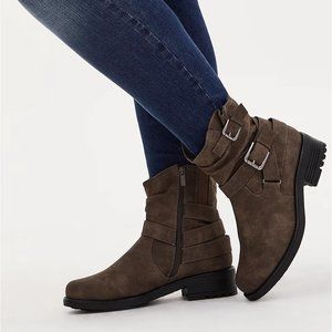 Torrid Faux Leather Double Buckle Moto Boot 7.5